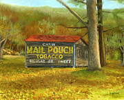 Pouch Painting Posters - Mail Pouch Barn in Autumn Poster by Vicky Watkins