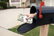 Mail Box Posters - Mailbox and buncle of cash Poster by Joe Belanger