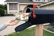 Mail Box Posters - Mailbox handing over money Poster by Joe Belanger