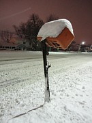 Winter Storm Prints - Mailbox Under Snowy Seige Print by Guy Ricketts