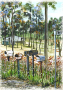 Mail Box Prints - Mailboxes on Country Road Print by Lynne Wilson