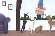 Dogs Art - Mailman by Christy Beckwith