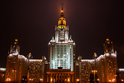 Haze Photo Prints - Main Building Of Moscow State University At Winter Evening - 2 Featured 3 Print by Alexander Senin