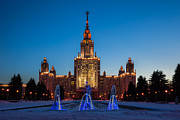Scholarship Posters - Main Building Of Moscow State University At Winter Evening - 3 Featured 2 Poster by Alexander Senin