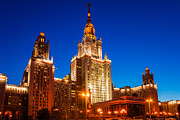 Msu Prints - Main Building Of Moscow State University At Winter Evening - 4 Print by Alexander Senin