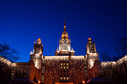 Msu Prints - Main Building Of Moscow State University At Winter Evening - 5 Print by Alexander Senin