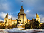 Msu Prints - Main Building Of Moscow State University On Sparrow Hills - 2 - Featured 3 Print by Alexander Senin