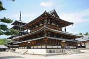 Medieval Temple Art - Main Hall of Horyu-ji - worlds oldest wooden building by David Hill
