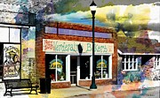 Old Town Digital Art Framed Prints - Main St. Small Town USA Framed Print by Barbara Chichester