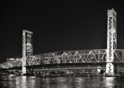 Night Time Framed Prints - Main Street Bridge Jacksonville Florida Framed Print by Christine Till