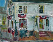 Clapboard House Framed Prints - Main Street Edgartown Framed Print by Edward Ching