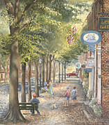 Charming Town Paintings - Main Street Nantucket by Tina Cobelle-Sturges
