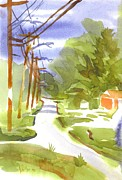 Water Colors Painting Originals - Main Street on a Cloudy Summers Day by Kip DeVore