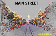 Disney World Framed Prints - Main Street U.S.A. Framed Print by David Lee Thompson