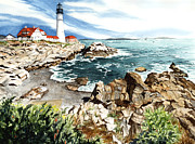 Maine Lighthouse Posters - Maine Attraction Poster by Barbara Jewell