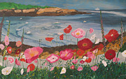 Maine Seacoast Paintings - Maine Coast FLowers by Hilda and Jose Garrancho