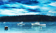 Docked Boats Framed Prints - Maine Harbor Framed Print by Darren Fisher