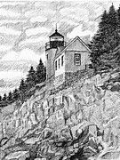 Lighthouse Drawings - Maine Lighthouse by Al Intindola