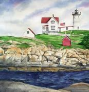 Cape Neddick Lighthouse Painting Metal Prints - Maine Lighthouse Watercolor Metal Print by Michelle Wiarda