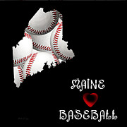 Baseball Digital Art Posters - Maine Loves Baseball Poster by Andee Photography