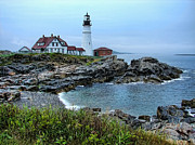 Maine Morning At Portland Head Light Print by Carolyn Fletcher