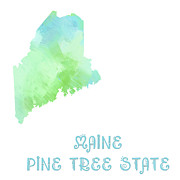 Maine Mixed Media Posters - Maine - Pine Tree State - Map - State Phrase - Geology Poster by Andee Photography