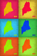 Maine Digital Art Metal Prints - Maine Pop Art Map 1 Metal Print by Irina  March