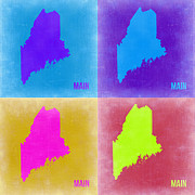 Maine Digital Art Metal Prints - Maine Pop Art Map 2 Metal Print by Irina  March