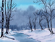 Winterscape Painting Originals - Maine Snowy Woods by Brenda Owen