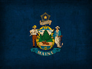 Maine Posters - Maine State Flag Art on Worn Canvas Poster by Design Turnpike