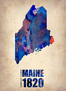 Map Art Digital Art Prints - Maine Watercolor Map Print by Irina  March