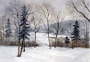 Snow Scene Paintings - Maine Winter by Suzanne Krueger