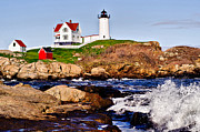 Nubble Lighthouse Framed Prints - Maines Nubble Light Framed Print by Mitchell R Grosky