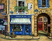 France Doors Painting Posters - Maison De Vin Poster by Marilyn Dunlap