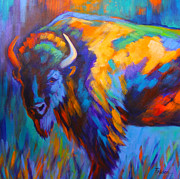 Bison Paintings - Majestic Bison by Theresa Paden