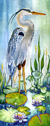 Egrets Paintings - Majestic Blue Heron by Lyse Anthony