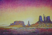 Monument Valley Drawings Posters - Majestic Dawn Poster by Ace Robst Jr