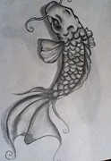 Koi Fish Drawings - Majestic fish by Gennah Lamphier