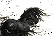 Hand Print On Horse Prints - Majestic Friesian 48 Print by AmyLyn Bihrle