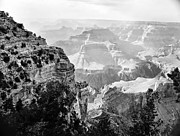 Scenic Greeting Cards Framed Prints - Majestic Grand Canyon in Black and White from the rim Framed Print by M K  Miller