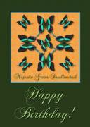 Brown Clipper Posters - Majestic Green Swallowtail Birthday Poster by Melissa A Benson