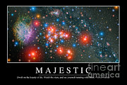 Starfield Digital Art Posters - Majestic Inspirational Quote Poster by Stocktrek Images