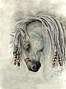 Hand-painted Portraits Paintings - Majestic Mustang 30 by AmyLyn Bihrle