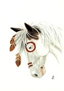 Hand-painted Portraits Paintings - Majestic Mustang 41 by AmyLyn Bihrle