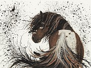 Pet Portraits Paintings - Majestic Mustang 57 by AmyLyn Bihrle