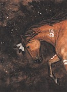Painted Feathers Posters - Majestic Mustang Series 40 Poster by AmyLyn Bihrle