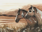 Tri Color Horse Paintings - Majestic Mustang Series 42 by AmyLyn Bihrle