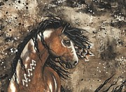 Tri Color Horse Paintings - Majestic Mustang Series 61 by AmyLyn Bihrle