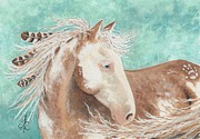 Teal.turquoise Framed Prints - Majestic Mustang Series #62 Framed Print by AmyLyn Bihrle