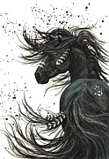 Black Stallion Paintings - Majestic Mustang Series 65 by AmyLyn Bihrle